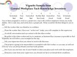vignette sample item general workplace tacit knowledge inventory