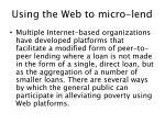 using the web to micro lend