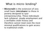 what is micro lending