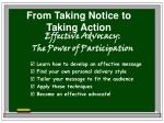 from taking notice to taking action