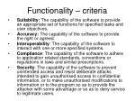 functionality criteria