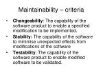 maintainability criteria