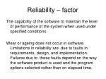 reliability factor