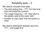 reliability tests 2