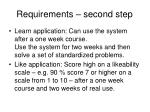requirements second step
