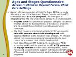 ages and stages questionnaire access to children beyond formal child care settings