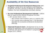 availability of on line resources