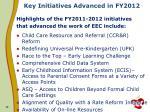 key initiatives advanced in fy2012