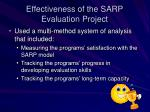 effectiveness of the sarp evaluation project