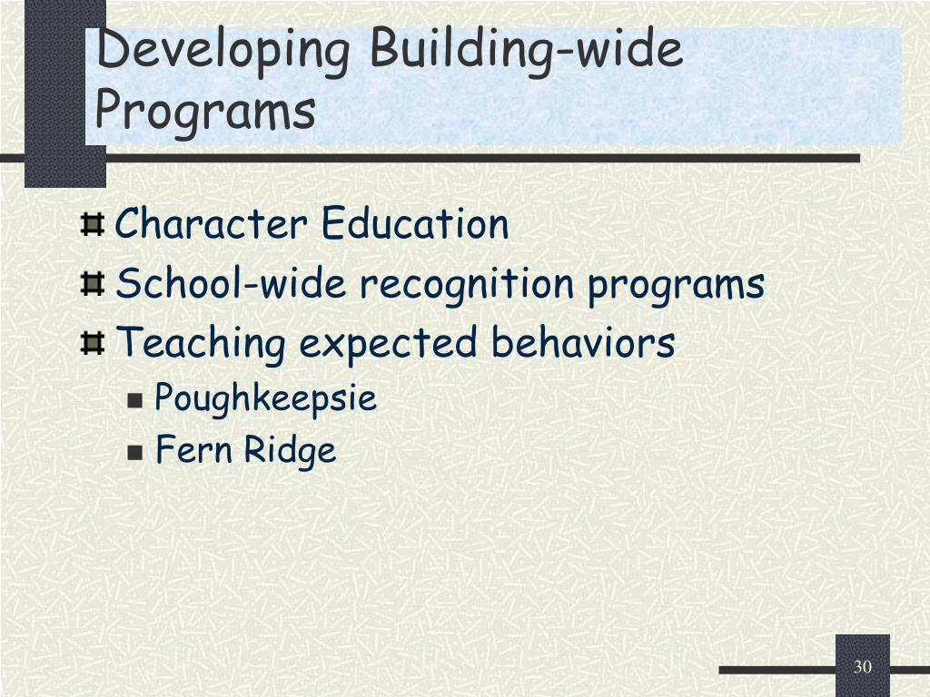 Developing Building-wide Programs