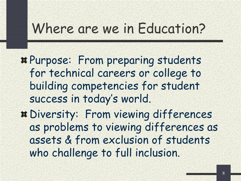 Where are we in Education?