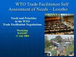 wto trade facilitation self assessment of needs lesotho