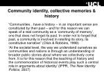 community identity collective memories history