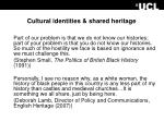 cultural identities shared heritage