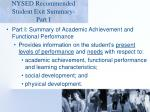 nysed recommended student exit summary part i