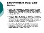 child protection and or child welfare