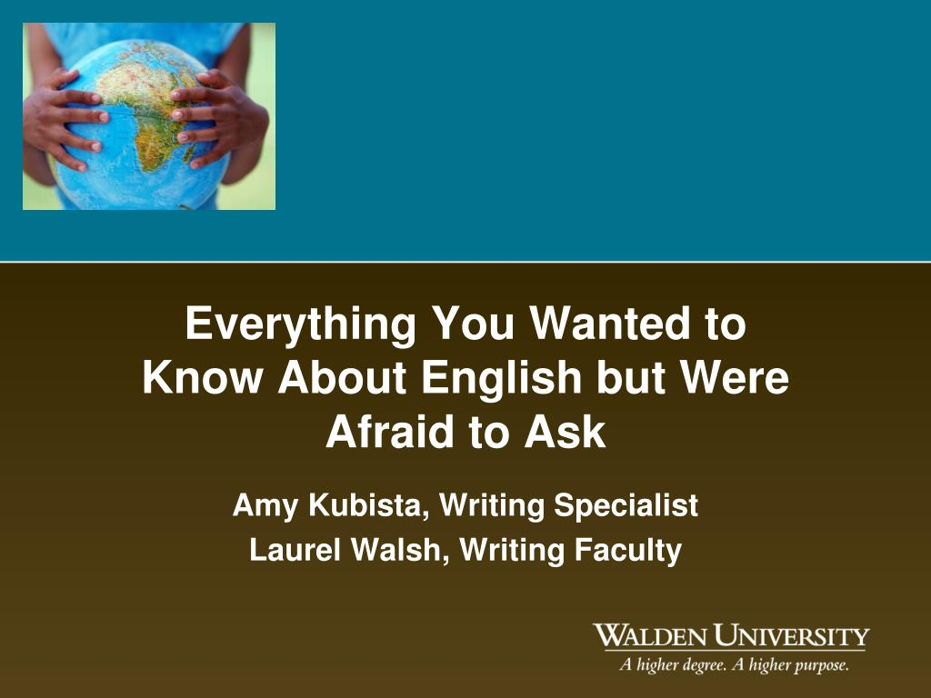 everything you wanted to know about english but were afraid to ask l.