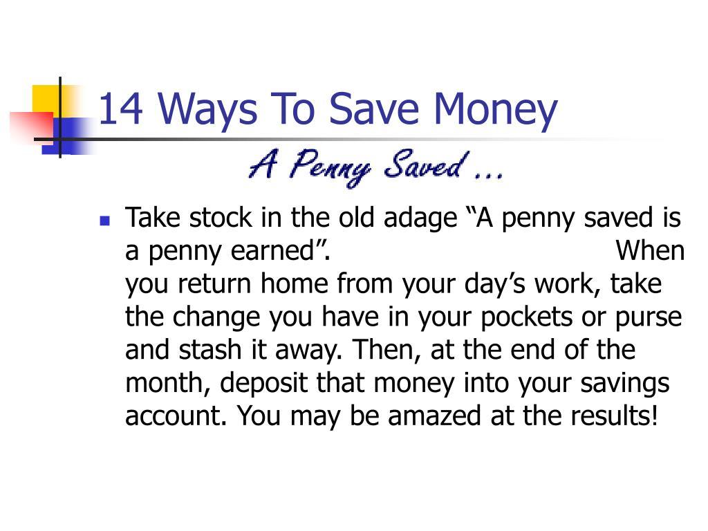 14 Ways To Save Money