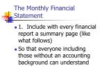 the monthly financial statement