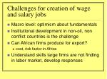 challenges for creation of wage and salary jobs
