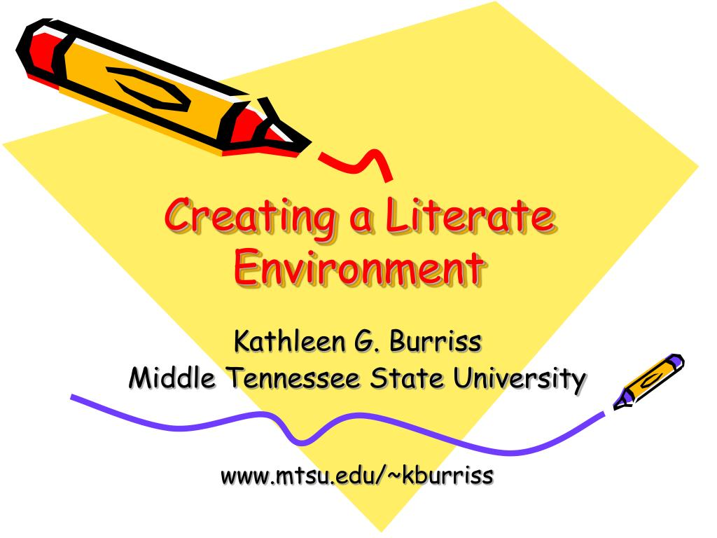 creating a literate environment l.