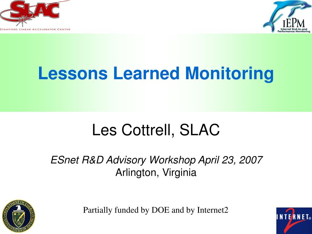 lessons learned monitoring l.