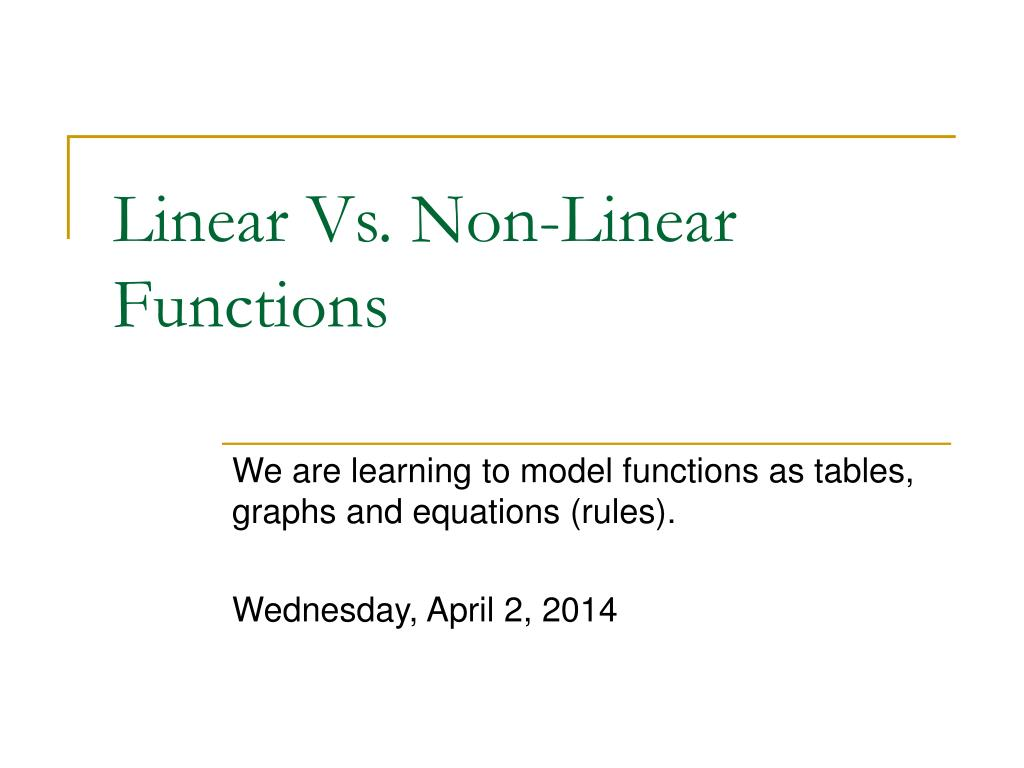 linear vs non linear functions l.
