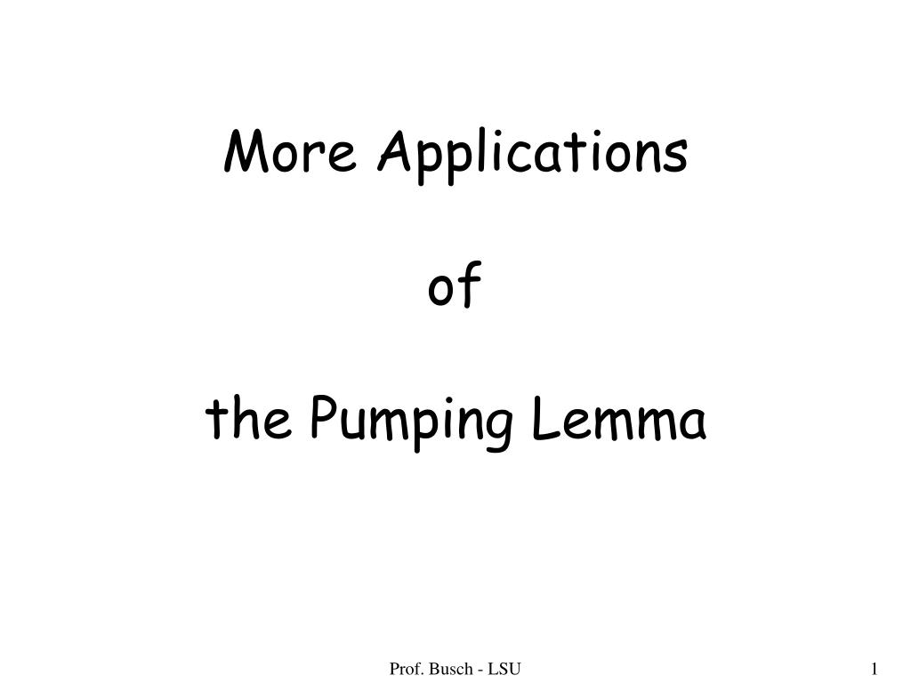 more applications of the pumping lemma l.
