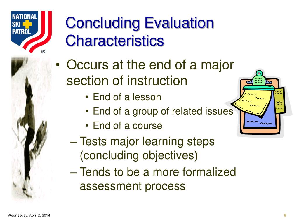 Concluding Evaluation Characteristics