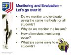 monitoring and evaluation let s go over it