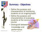 summary objectives