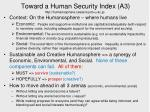 toward a human security index a3 http humanosphere cseas kyoto u ac jp