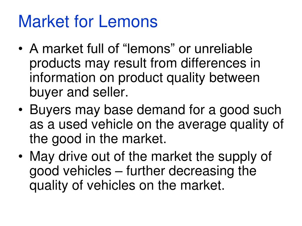 market for lemons l.