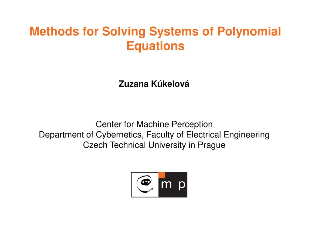 methods for solving systems of polynomial equations l.