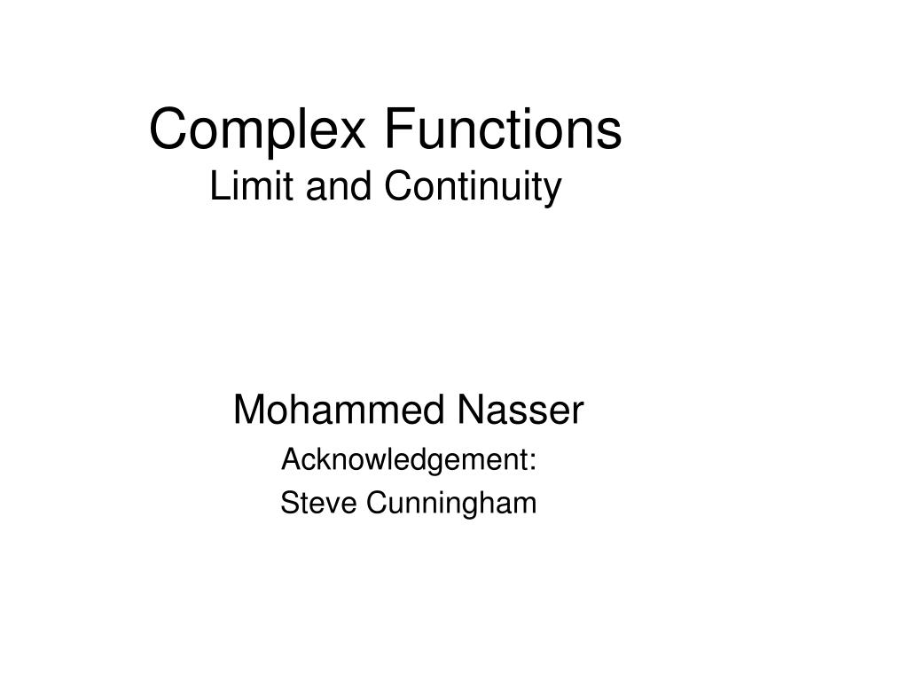 complex functions limit and continuity l.