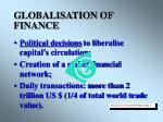 globalisation of finance