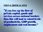 neo liberalism