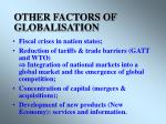 other factors of globalisation