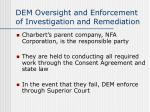 dem oversight and enforcement of investigation and remediation