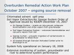 overburden remedial action work plan october 2007 ongoing source removal