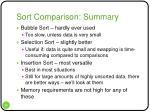 sort comparison summary