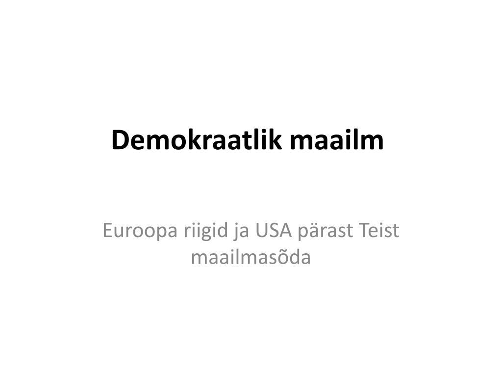 demokraatlik maailm l.