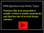 500 question from poetic types