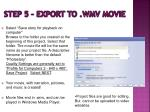 step 5 export to wmv movie