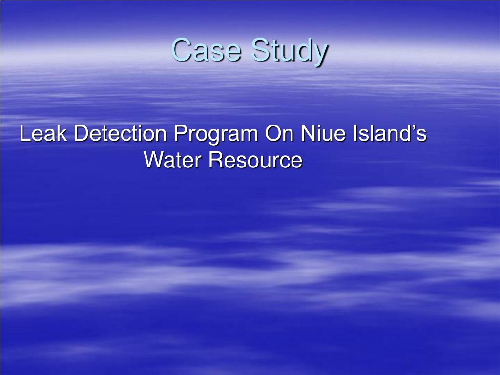 leak detection program on niue island s water resource l.