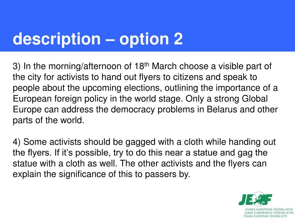 description – option 2