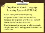 cognitive academic language learning approach calla