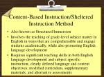 content based instruction sheltered instruction method