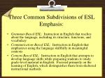 three common subdivisions of esl emphasis