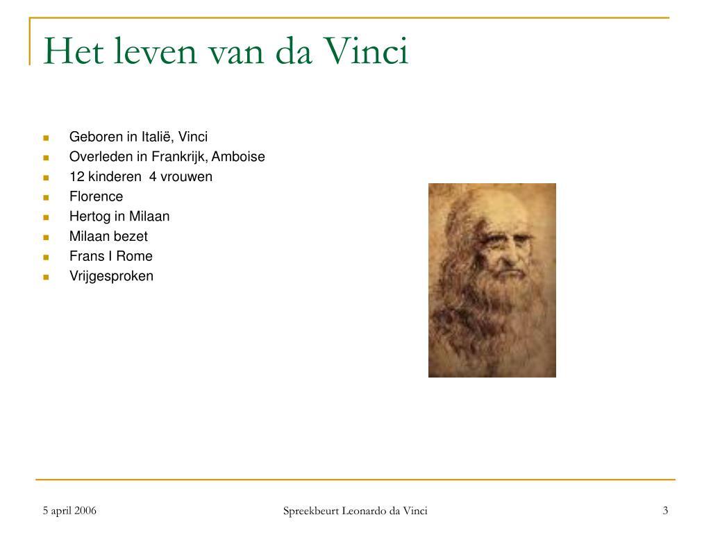 Ppt Leven En Werk Van Leonardo Da Vinci Powerpoint